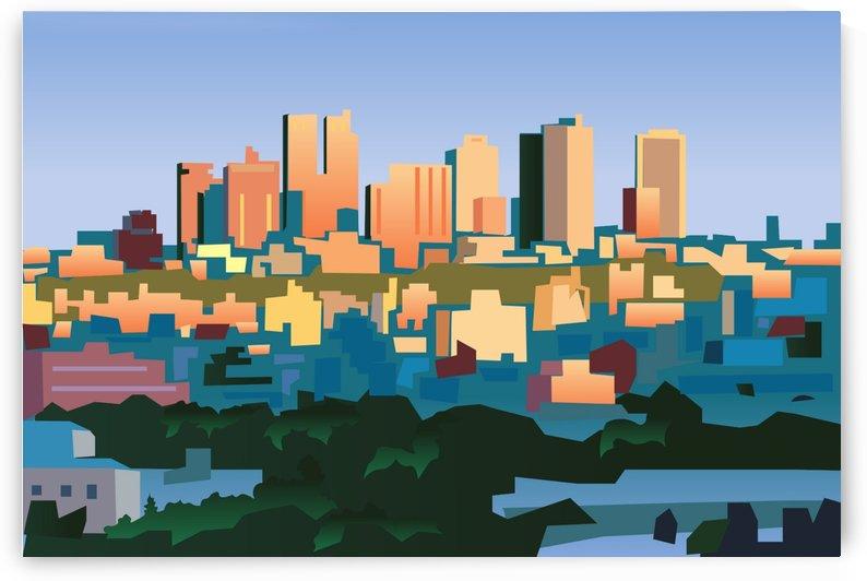 city buildings urban dawn by Shamudy