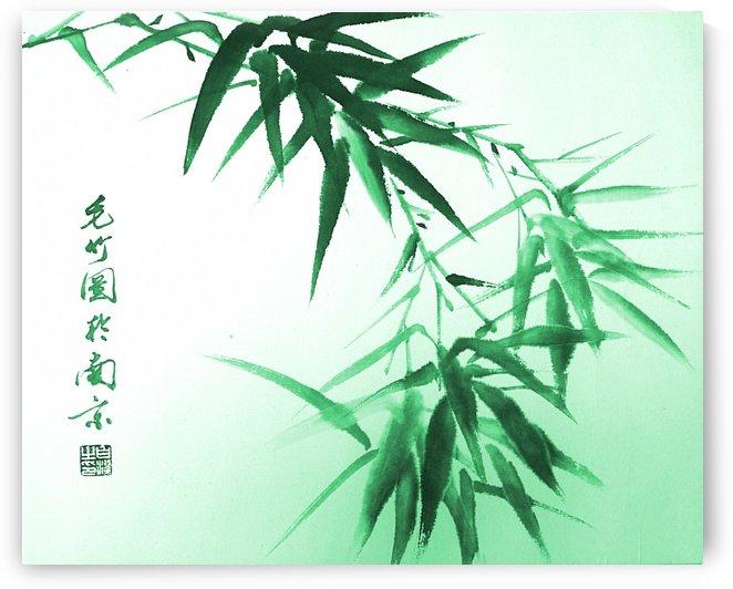 Green Bamboo Twig by Birgit Moldenhauer