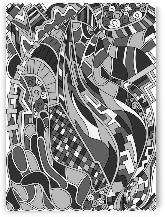Wandering Abstract Line Art 31: Grayscale by Dream Ripple