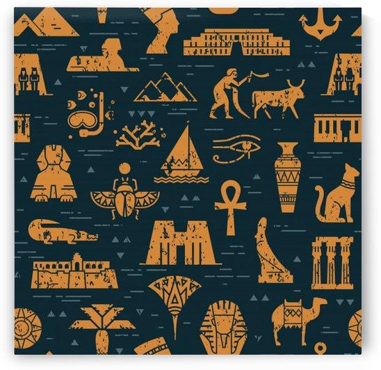 dark seamless pattern symbols landmarks signs egypt by Shamudy