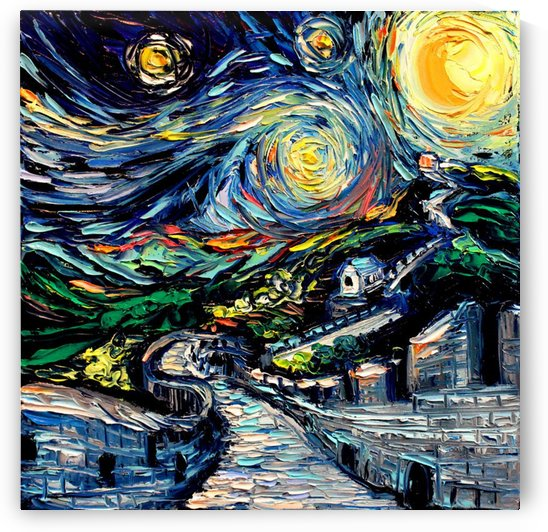 The Great Wall Nature painting Starry Night van Gogh by Shamudy