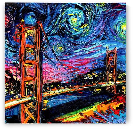 Golden Gate Bridge starry night Vincent Van Gogh by Shamudy