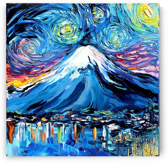 Mount Fuji Art Starry Night van Gogh by Shamudy