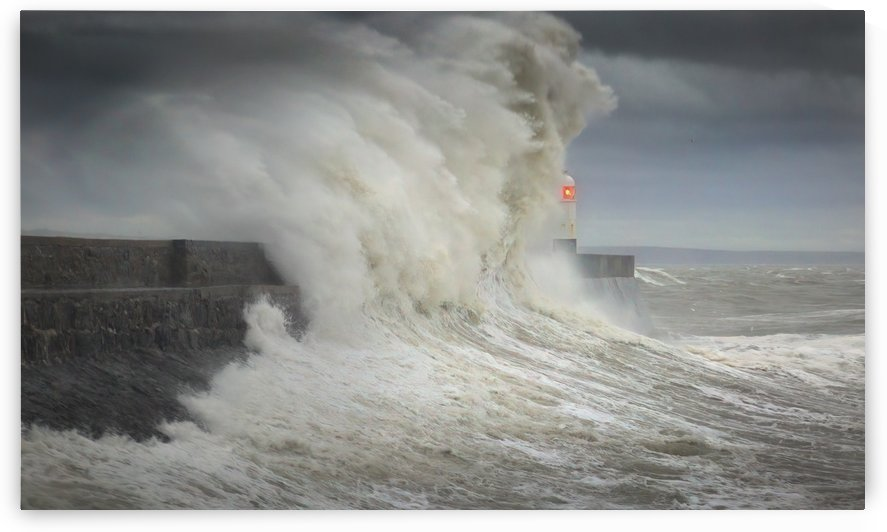 Storm Ciara hits Porthcawl lighthouse by Leighton Collins
