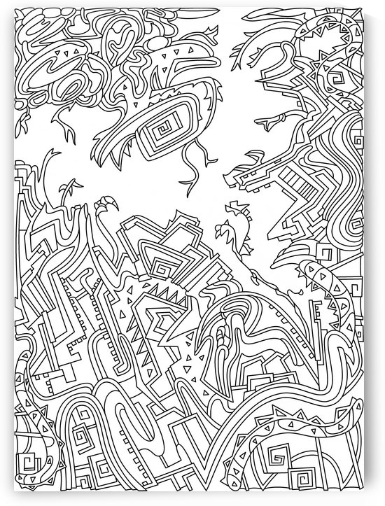 Wandering Abstract Line Art 34: Black & White by Dream Ripple