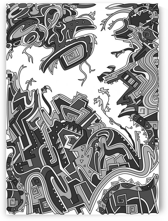 Wandering Abstract Line Art 34: Grayscale by Dream Ripple