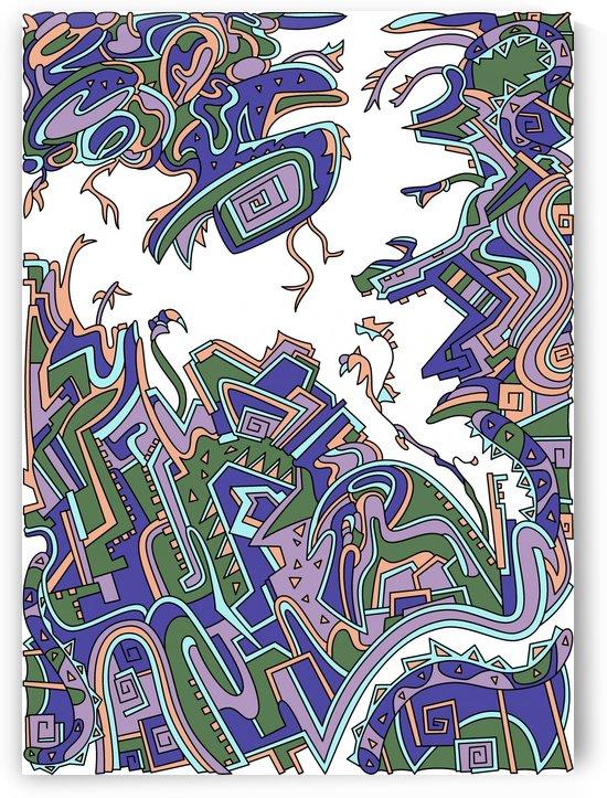 Wandering Abstract Line Art 34: Purple by Dream Ripple