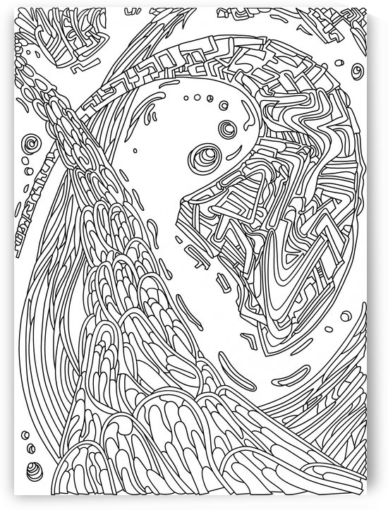Wandering Abstract Line Art 35: Black & White by Dream Ripple