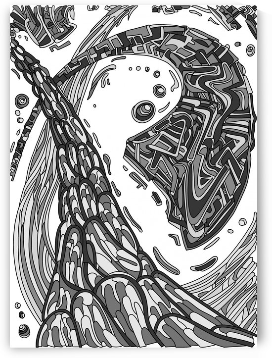 Wandering Abstract Line Art 35: Grayscale by Dream Ripple