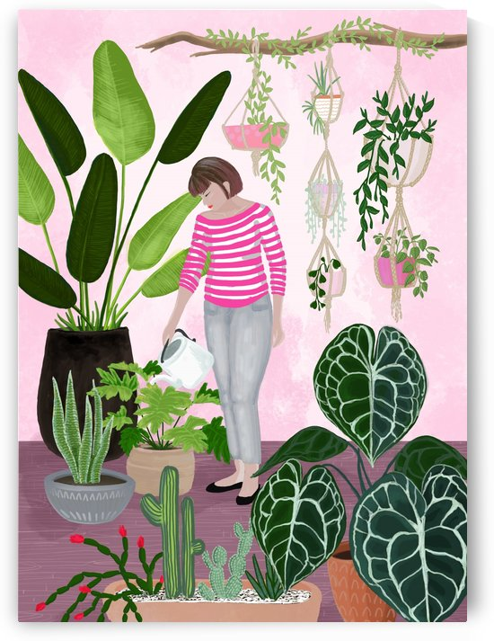 my home jungle illustration in pink by blursbyai