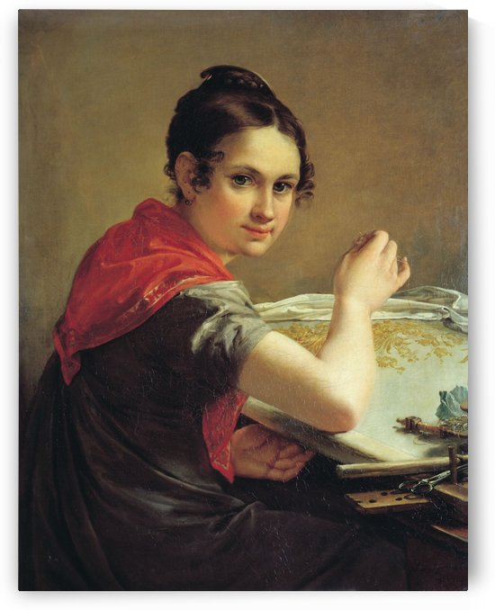 The Gold-Embroideress by Vasily Tropinin