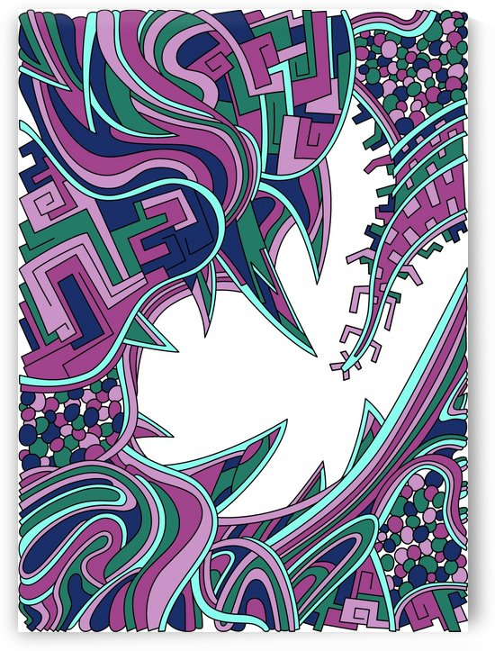 Wandering Abstract Line Art 39: Pink by Dream Ripple
