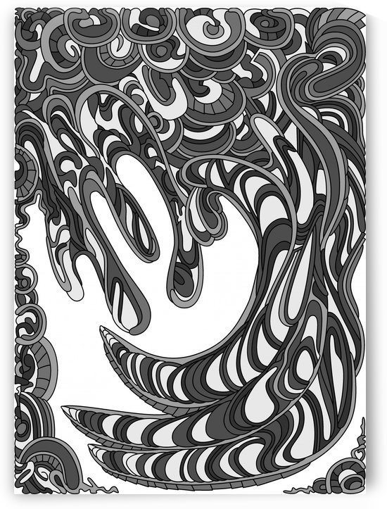 Wandering Abstract Line Art 41: Grayscale by Dream Ripple