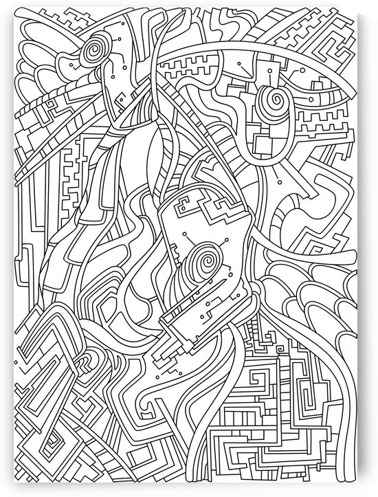 Wandering Abstract Line Art 44: Black & White by Dream Ripple