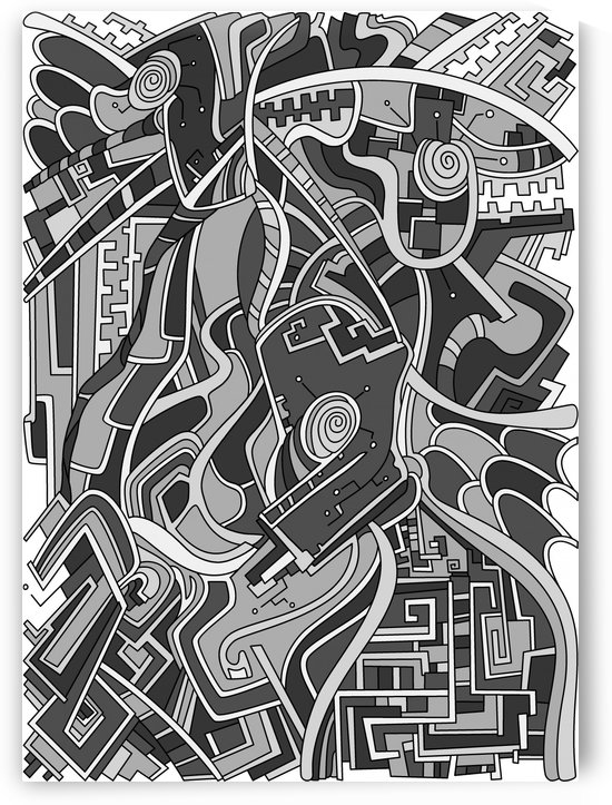 Wandering Abstract Line Art 44: Grayscale by Dream Ripple