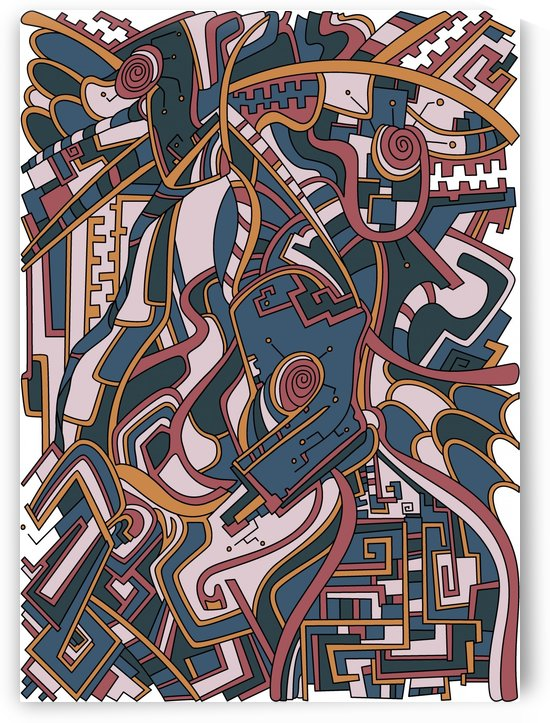 Wandering Abstract Line Art 44: Orange by Dream Ripple