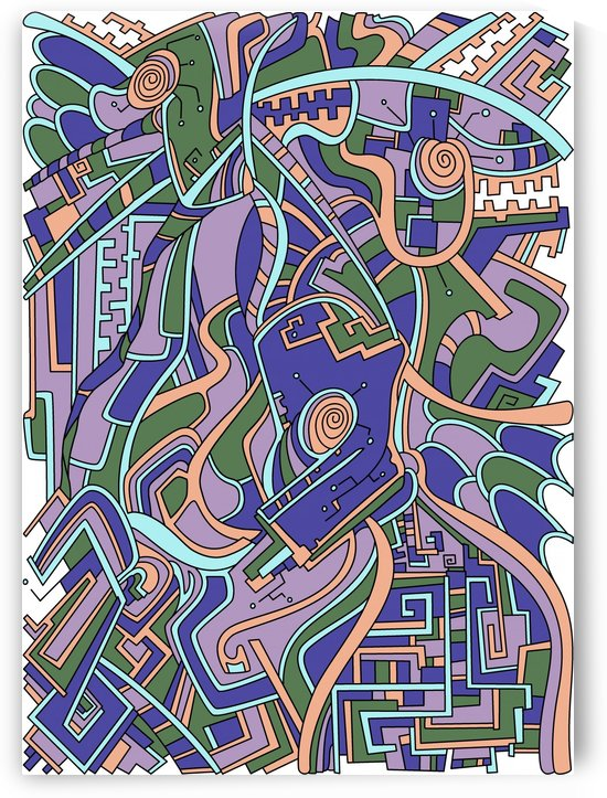 Wandering Abstract Line Art 44: Purple by Dream Ripple