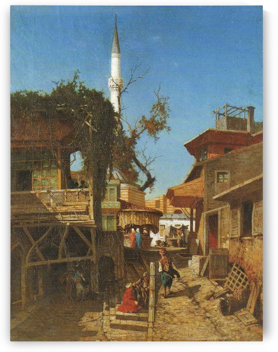 Street with minaret by Germain Fabius Brest
