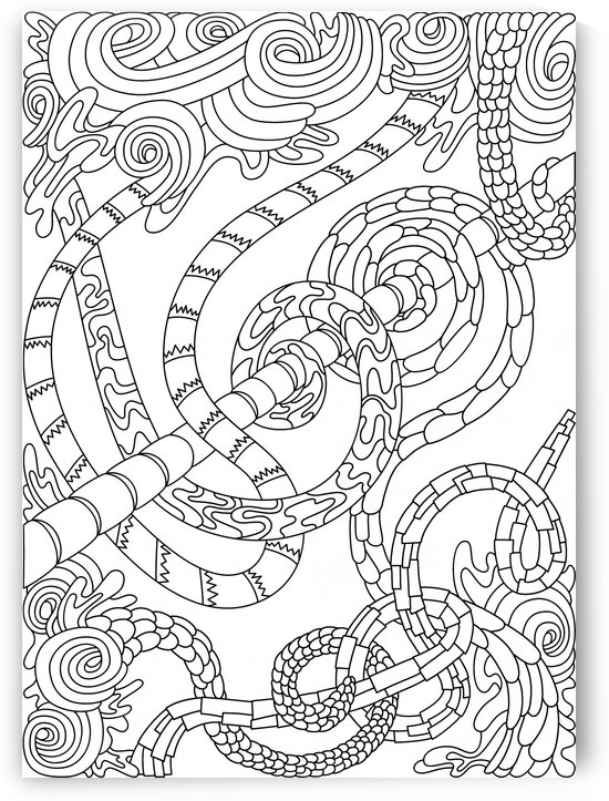 Wandering Abstract Line Art 46: Black & White by Dream Ripple