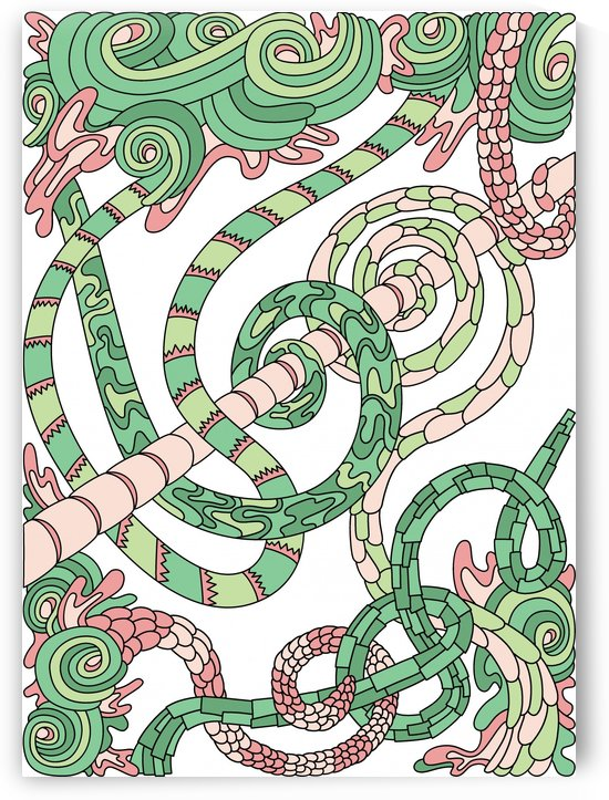 Wandering Abstract Line Art 46: Green by Dream Ripple