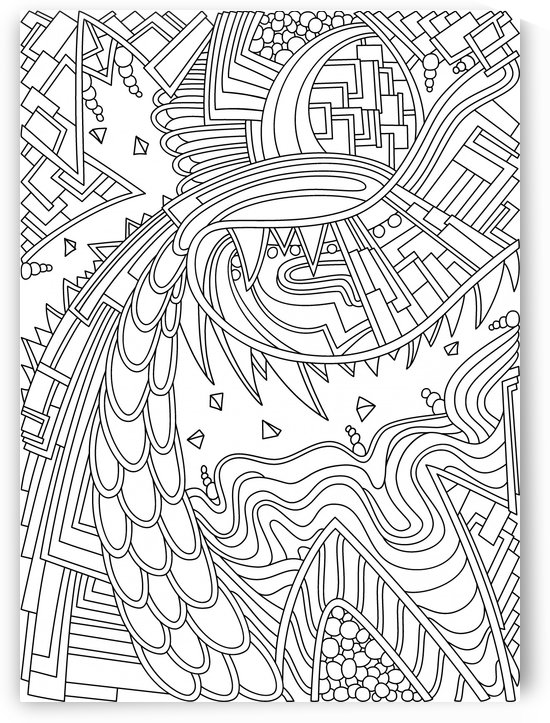 Wandering Abstract Line Art 49: Black & White by Dream Ripple