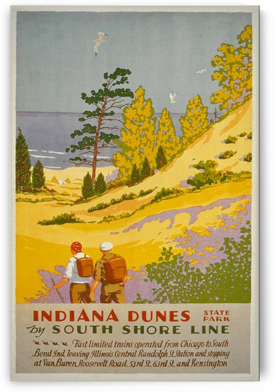 Vintage Travel - Indiana Dunes State Park by Culturio