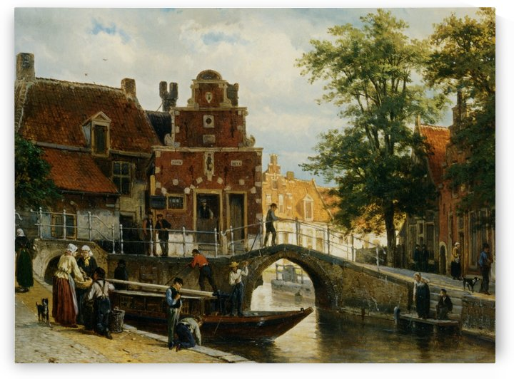 A View of Franeker with the Zakkend Ragershuisje by Cornelis Springer