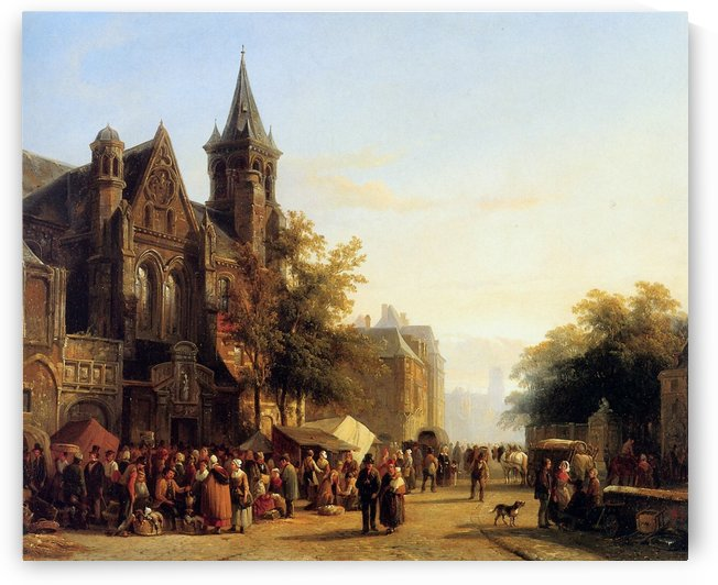 City view with figures by Cornelis Springer
