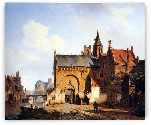 Fantasy cityview of Maassluis by Cornelis Springer