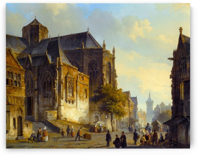 Figures on a Market Square in a Dutch Town by Cornelis Springer