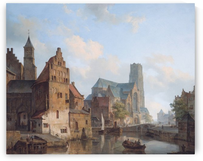 Delftse Vaart and the St Laurens church in Rotterdam by Cornelis Springer
