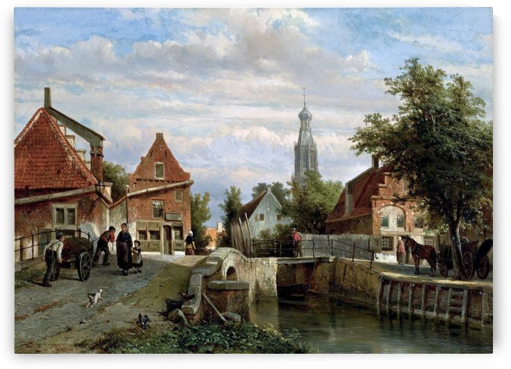 A view of the Staal Everspijp and the Grote Kerk in summer, Enkhuizen by Cornelis Springer