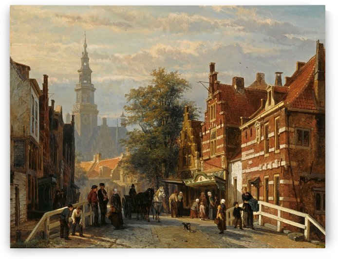 A view of Bolsward with the townhall in the distance by Cornelis Springer