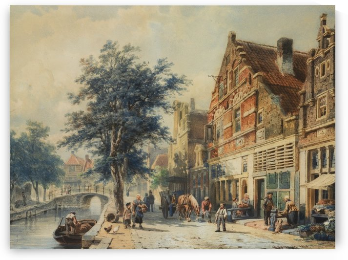 Buildings along the canal by Cornelis Springer