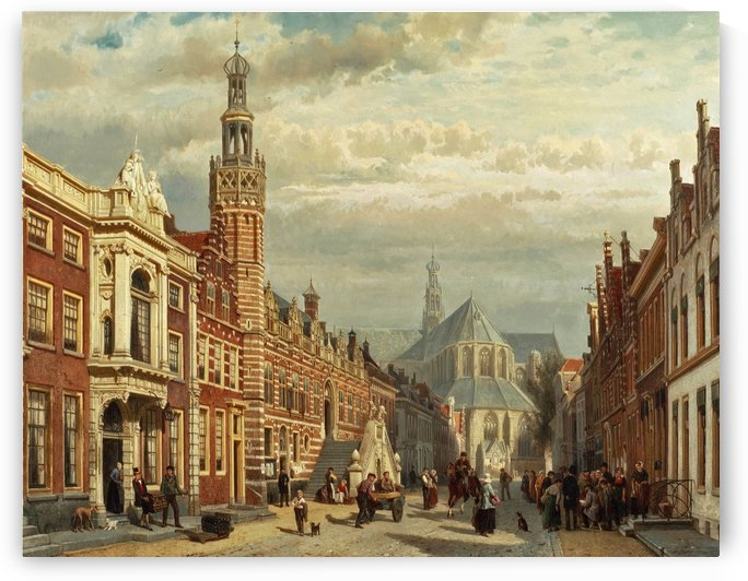 View of the town hall and St Lawrence Church in Alkmaar by Cornelis Springer