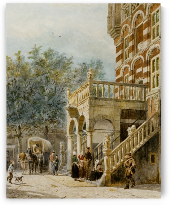 Figures on the Bank in Deventer by Cornelis Springer