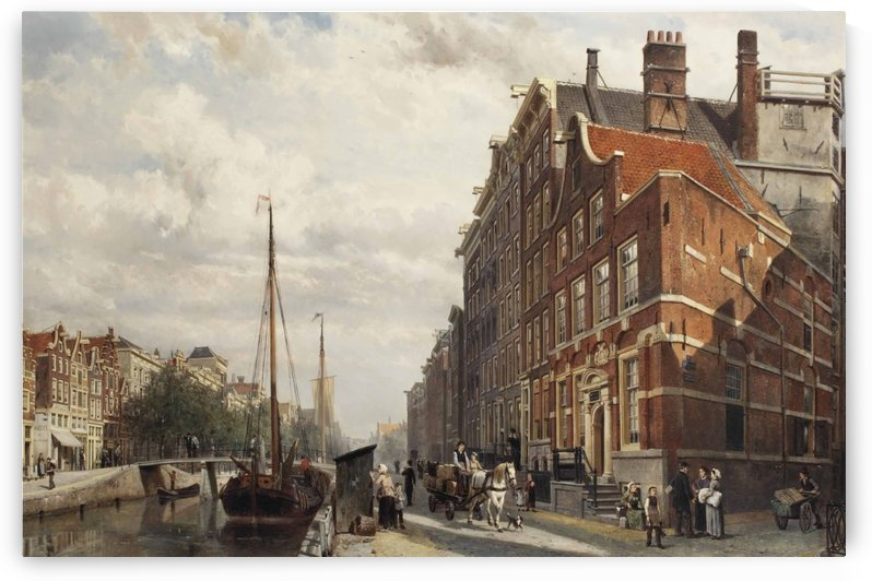 Voorburgwal in Amsterdam by Cornelis Springer