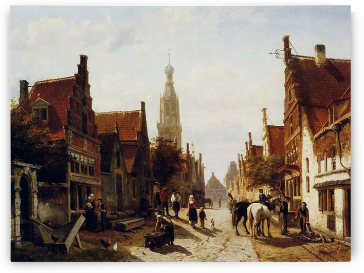 Market Oudewater Sun by Cornelis Springer