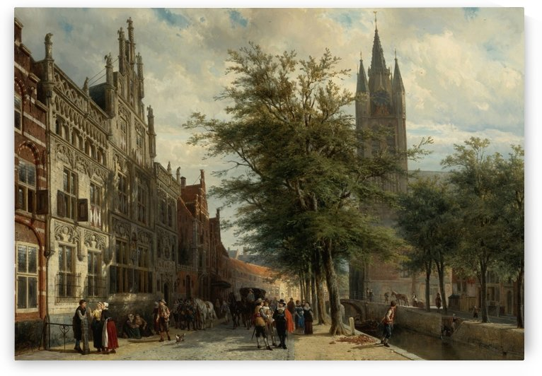 The Gemeenlandshuis and the Old Church, Delft, Summer by Cornelis Springer