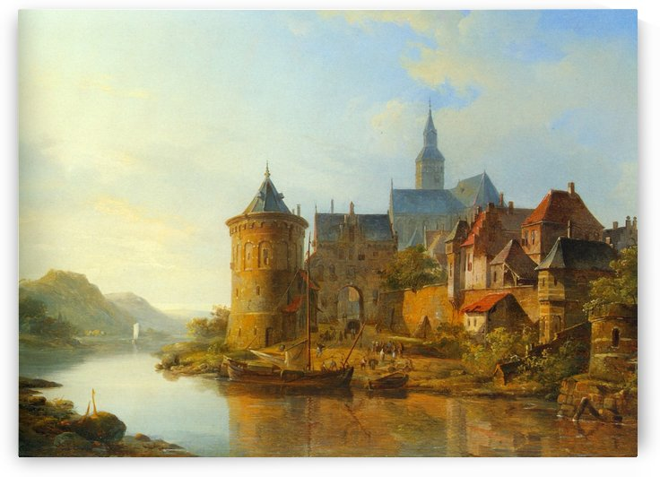 A View of a Town Along the Rhine by Cornelis Springer