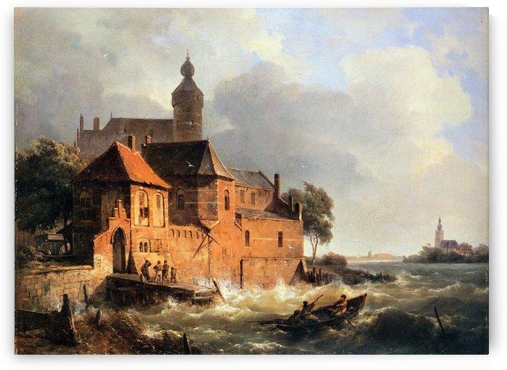 Men in boat at Choppy Sea Sun by Cornelis Springer