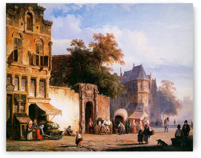 Cityview wiith marketstall by Cornelis Springer