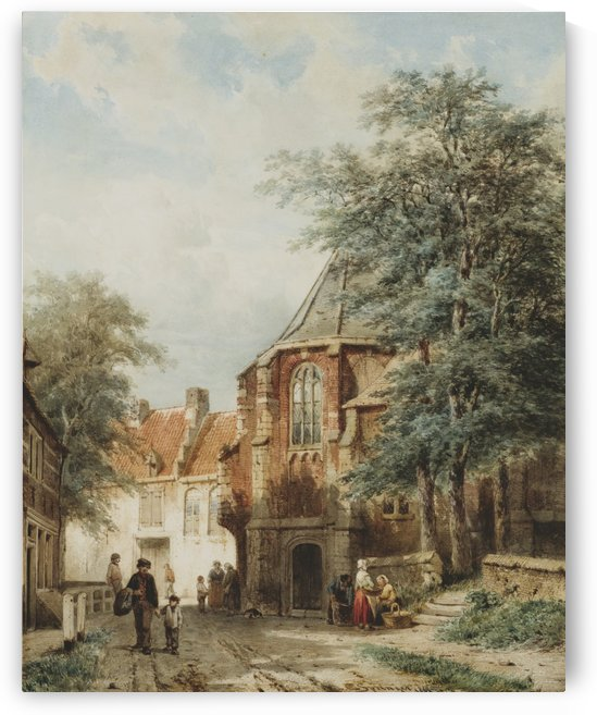 Sunny day in the city by Cornelis Springer