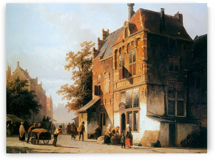 Westermarket in Amsterdam by Cornelis Springer