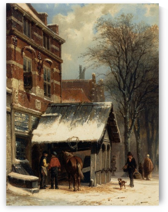 The Smithy of Culemborg in the Winter by Cornelis Springer