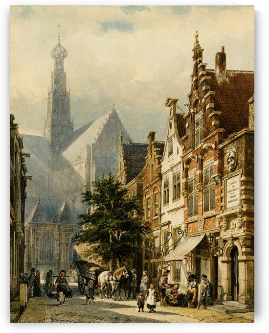 Figures in the streets of Haarlem by Cornelis Springer