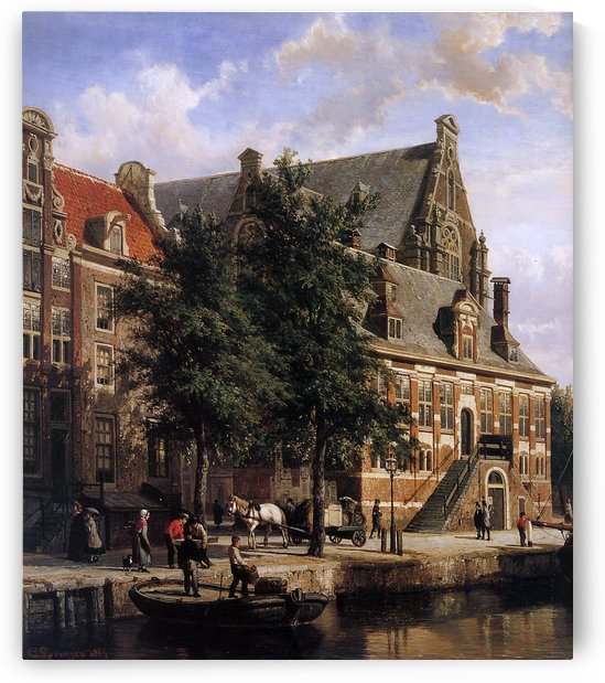 The Oude Waag at the Westerkerk by Cornelis Springer