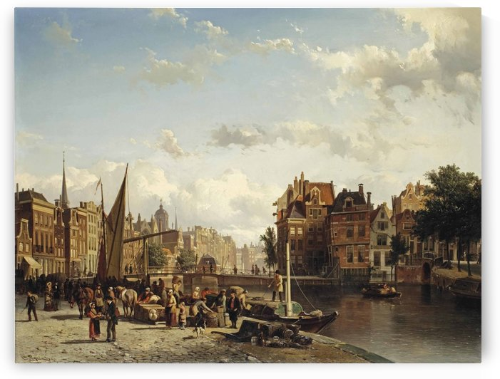 Market along the canal by Cornelis Springer