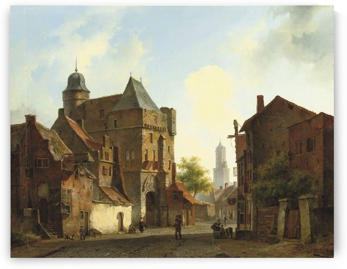 A peaceful town square in summer by Cornelis Springer