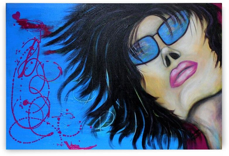 La femme a lunette sous le ciel Bleu by Marie Therese Lacroix